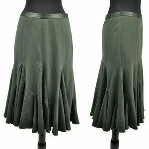 Anthropologie Elevenses Green Godet Skirt Flare